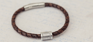 Memorial Leather Charm Bracelet with Fingerprint Bead