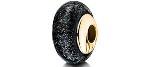 Black Charm Bead – Gold