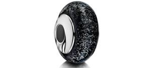 Black Charm Bead – Silver