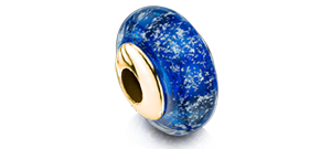 Blue Charm Bead – Gold