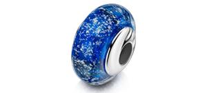 Blue Charm Bead – White Gold
