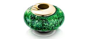 Green Charm Bead – Gold