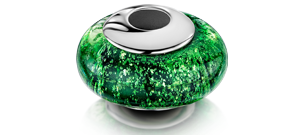 Green Charm Bead – Silver