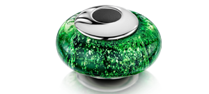 Green Charm Bead – White Gold