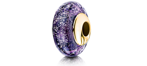 Purple Charm Bead – Gold