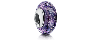 Purple Charm Bead – Silver