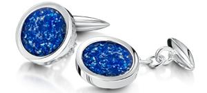 Blue Cufflinks  – White Gold
