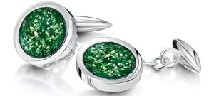 Green Cufflinks  – White Gold